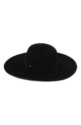 Женская фетровая шляпа SAINT LAURENT черного цвета, арт. 668410/3YA58   Фото 1 (Материал: Шерсть)