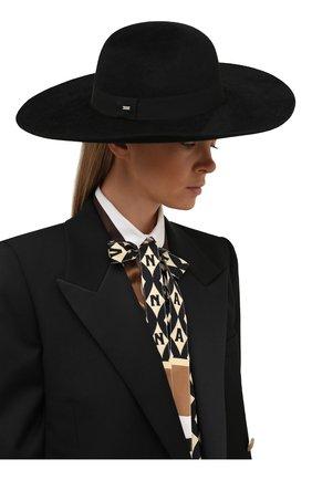 Женская фетровая шляпа SAINT LAURENT черного цвета, арт. 668410/3YA58   Фото 2 (Материал: Шерсть)