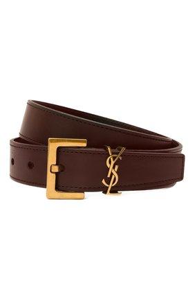 Женский кожаный ремень SAINT LAURENT коричневого цвета, арт. 634437/0H7YW | Фото 1
