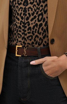 Женский кожаный ремень SAINT LAURENT коричневого цвета, арт. 634437/0H7YW | Фото 2