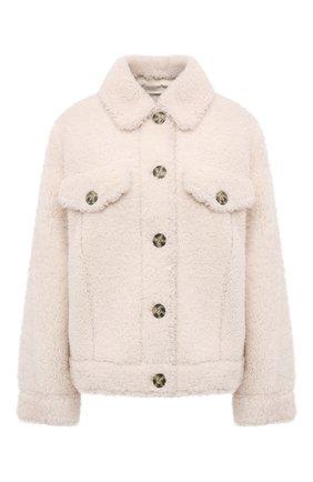 Женская куртка из овчины METEO YVES SALOMON кремвого цвета, арт. 22WMV60367MECL | Фото 1