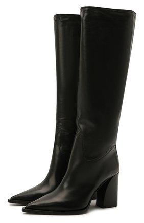 Женские кожаные сапоги foulard PREMIATA черного цвета, арт. M5962/F0ULARD   Фото 1 (Материал внутренний: Натуральная кожа; Подошва: Плоская; Каблук высота: Высокий; Высота голенища: Средние; Каблук тип: Устойчивый)