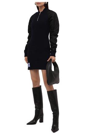 Женские кожаные сапоги foulard PREMIATA черного цвета, арт. M5962/F0ULARD   Фото 2 (Материал внутренний: Натуральная кожа; Подошва: Плоская; Каблук высота: Высокий; Высота голенища: Средние; Каблук тип: Устойчивый)