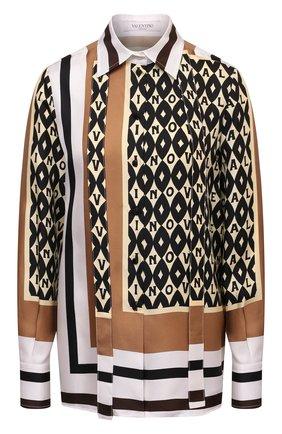 Женская шелковая рубашка VALENTINO бежевого цвета, арт. WB3AB2N36JG | Фото 1 (Материал внешний: Шелк; Рукава: Длинные; Длина (для топов): Стандартные; Женское Кросс-КТ: Рубашка-одежда; Принт: С принтом; Стили: Гламурный)