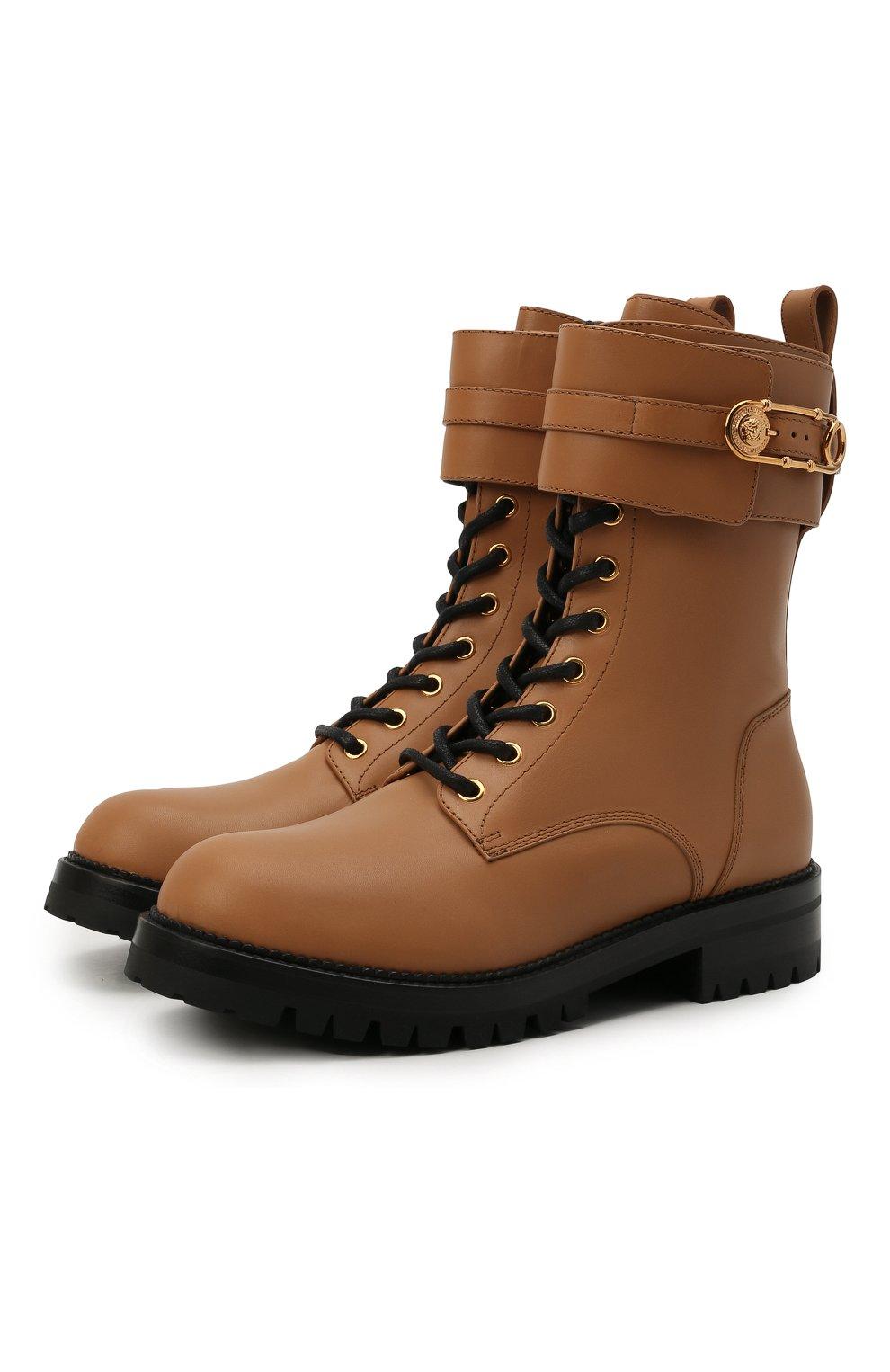 Женские кожаные ботинки VERSACE светло-коричневого цвета, арт. DST419E/DVTA3 | Фото 1 (Подошва: Платформа; Каблук высота: Низкий; Материал внутренний: Натуральная кожа; Женское Кросс-КТ: Байкеры-ботинки)