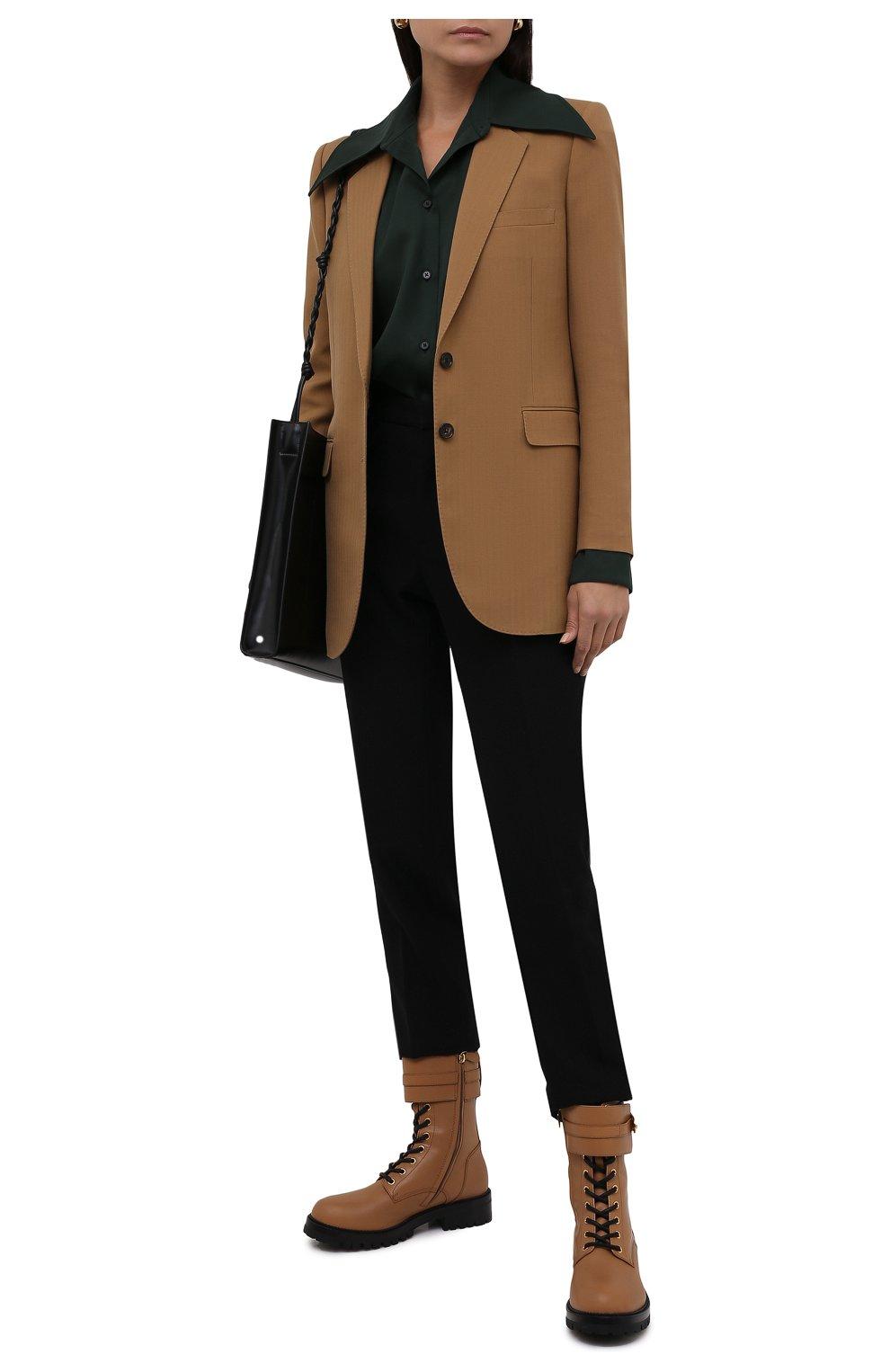 Женские кожаные ботинки VERSACE светло-коричневого цвета, арт. DST419E/DVTA3 | Фото 2 (Подошва: Платформа; Каблук высота: Низкий; Материал внутренний: Натуральная кожа; Женское Кросс-КТ: Байкеры-ботинки)