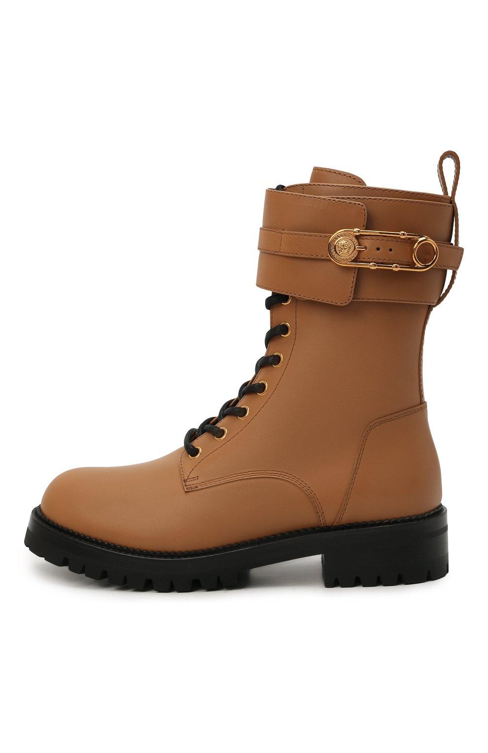 Женские кожаные ботинки VERSACE светло-коричневого цвета, арт. DST419E/DVTA3 | Фото 3 (Подошва: Платформа; Каблук высота: Низкий; Материал внутренний: Натуральная кожа; Женское Кросс-КТ: Байкеры-ботинки)