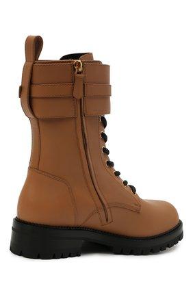 Женские кожаные ботинки VERSACE светло-коричневого цвета, арт. DST419E/DVTA3 | Фото 4 (Подошва: Платформа; Каблук высота: Низкий; Материал внутренний: Натуральная кожа; Женское Кросс-КТ: Байкеры-ботинки)
