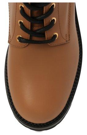 Женские кожаные ботинки VERSACE светло-коричневого цвета, арт. DST419E/DVTA3 | Фото 5 (Подошва: Платформа; Каблук высота: Низкий; Материал внутренний: Натуральная кожа; Женское Кросс-КТ: Байкеры-ботинки)
