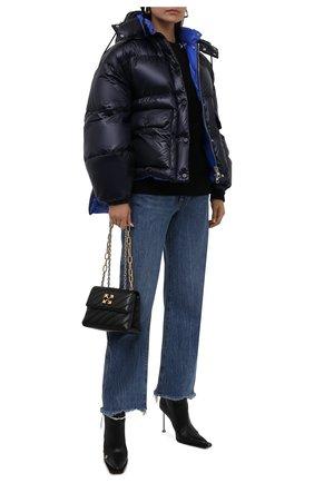 Женский утепленная куртка ALEXANDER MCQUEEN темно-синего цвета, арт. 661927/QEAC1 | Фото 2 (Длина (верхняя одежда): Короткие; Материал внешний: Синтетический материал; Материал подклада: Синтетический материал; Рукава: Длинные; Стили: Спорт-шик; Кросс-КТ: Пуховик)