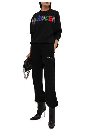 Женский хлопковый свитшот ALEXANDER MCQUEEN черного цвета, арт. 668496/QZADS | Фото 2 (Длина (для топов): Стандартные; Материал внешний: Хлопок; Рукава: Длинные; Женское Кросс-КТ: Свитшот-одежда; Стили: Спорт-шик)