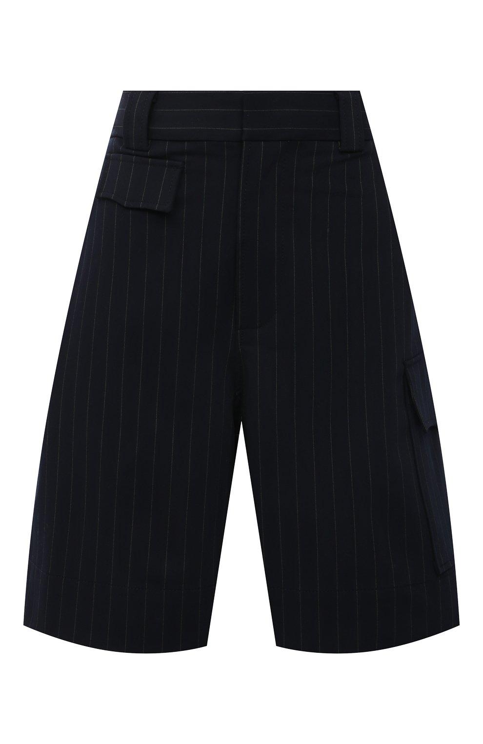 Женские шорты-бермуды GANNI темно-синего цвета, арт. F6119   Фото 1 (Женское Кросс-КТ: Шорты-одежда; Длина Ж (юбки, платья, шорты): Мини; Материал внешний: Синтетический материал, Вискоза; Кросс-КТ: Широкие; Стили: Кэжуэл)