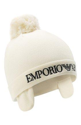 Детского шерстяная шшапка EMPORIO ARMANI белого цвета, арт. 394356/1A402 | Фото 1 (Материал: Шерсть)