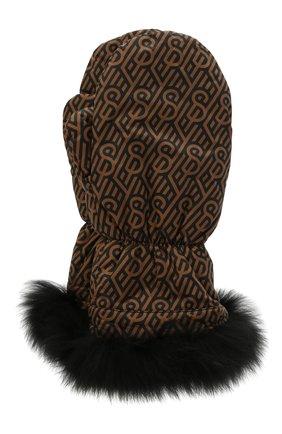 Детские пкховые варежки с мехом YVES SALOMON ENFANT коричневого цвета, арт. 21WEA016XXM08W | Фото 1