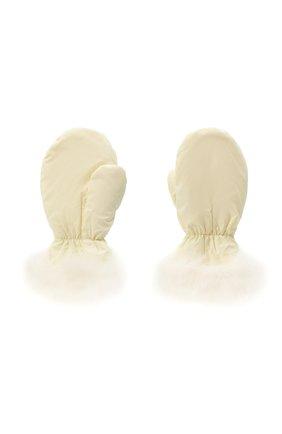 Детские пкховые варежки с мехом YVES SALOMON ENFANT белого цвета, арт. 21WEA016XXM08W | Фото 2