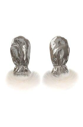 Детские пкховые варежки с мехом YVES SALOMON ENFANT серебряного цвета, арт. 21WEA016XXM08W | Фото 2