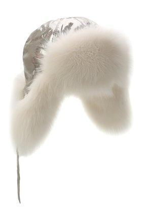 Пуховая шапка-ушанка с мехом | Фото №1