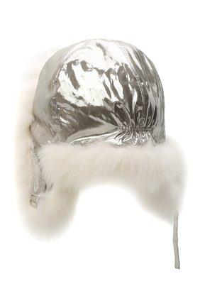 Пуховая шапка-ушанка с мехом | Фото №2