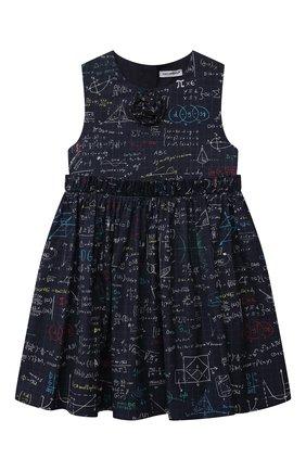 Детское хлопковое платье DOLCE & GABBANA темно-синего цвета, арт. L52DV1/HS5KH/2-6 | Фото 1 (Материал подклада: Хлопок; Рукава: Короткие; Материал внешний: Хлопок; Девочки Кросс-КТ: Платье-одежда; Случай: Повседневный; Ростовка одежда: 2 года | 92 см, 3 года | 98 см, 4 года | 104 см, 5 лет | 110 см, 6 лет | 116 см)