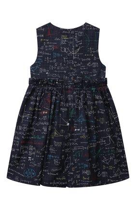 Детское хлопковое платье DOLCE & GABBANA темно-синего цвета, арт. L52DV1/HS5KH/2-6 | Фото 2 (Материал подклада: Хлопок; Рукава: Короткие; Материал внешний: Хлопок; Девочки Кросс-КТ: Платье-одежда; Случай: Повседневный; Ростовка одежда: 2 года | 92 см, 3 года | 98 см, 4 года | 104 см, 5 лет | 110 см, 6 лет | 116 см)