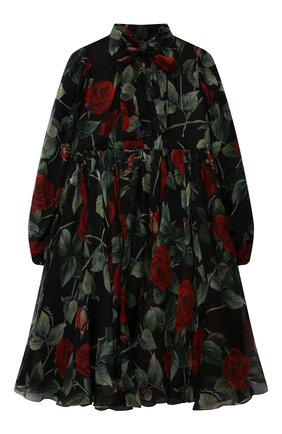 Детское шелковое платье DOLCE & GABBANA черного цвета, арт. L52DX1/IS1JY/2-6 | Фото 1 (Материал подклада: Вискоза; Материал внешний: Шелк; Рукава: Длинные; Девочки Кросс-КТ: Платье-одежда; Случай: Вечерний; Ростовка одежда: 2 года | 92 см, 3 года | 98 см, 4 года | 104 см, 5 лет | 110 см, 6 лет | 116 см)