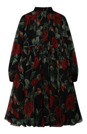 Детское шелковое платье DOLCE & GABBANA черного цвета, арт. L52DX1/IS1JY/2-6 | Фото 2 (Материал подклада: Вискоза; Материал внешний: Шелк; Рукава: Длинные; Девочки Кросс-КТ: Платье-одежда; Случай: Вечерний; Ростовка одежда: 2 года | 92 см, 3 года | 98 см, 4 года | 104 см, 5 лет | 110 см, 6 лет | 116 см)