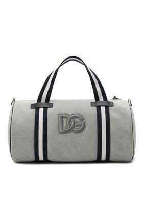 Детская хлопковая сумка DOLCE & GABBANA серого цвета, арт. EM0036/AQ426   Фото 1 (Материал: Текстиль)