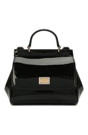 Детская кожаная сумка DOLCE & GABBANA черного цвета, арт. EB0003/A1067   Фото 1 (Материал: Натуральная кожа)