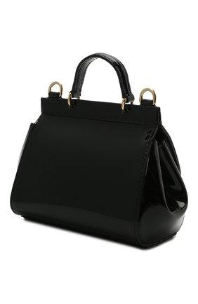 Детская кожаная сумка DOLCE & GABBANA черного цвета, арт. EB0003/A1067   Фото 2 (Материал: Натуральная кожа)