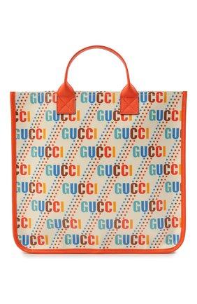 Детская хлопковая сумка GUCCI разноцветного цвета, арт. 550763/21ZA0 | Фото 1 (Материал: Текстиль)