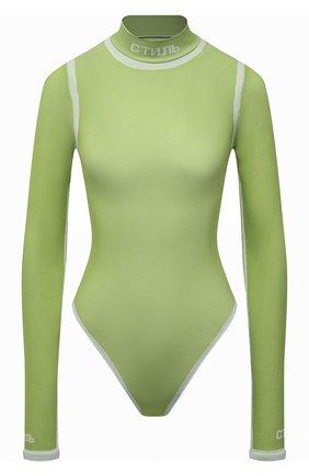 Женское боди HERON PRESTON зеленого цвета, арт. HWDD013F21KNI0015501   Фото 1 (Рукава: Длинные; Материал внешний: Синтетический материал; Женское Кросс-КТ: Боди-одежда; Стили: Спорт-шик)