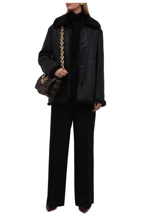 Женская дубленка JIL SANDER темно-синего цвета, арт. JSPT654170-WTL08010 | Фото 2 (Длина (верхняя одежда): Короткие; Материал внешний: Натуральный мех; Рукава: Длинные; Стили: Кэжуэл)