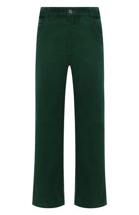 Женские хлопковые брюки LORO PIANA темно-зеленого цвета, арт. FAL9460 | Фото 1 (Материал внешний: Хлопок; Женское Кросс-КТ: Брюки-одежда; Силуэт Ж (брюки и джинсы): Прямые; Длина (брюки, джинсы): Стандартные; Стили: Кэжуэл)