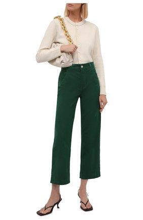 Женские хлопковые брюки LORO PIANA темно-зеленого цвета, арт. FAL9460 | Фото 2 (Материал внешний: Хлопок; Женское Кросс-КТ: Брюки-одежда; Силуэт Ж (брюки и джинсы): Прямые; Длина (брюки, джинсы): Стандартные; Стили: Кэжуэл)