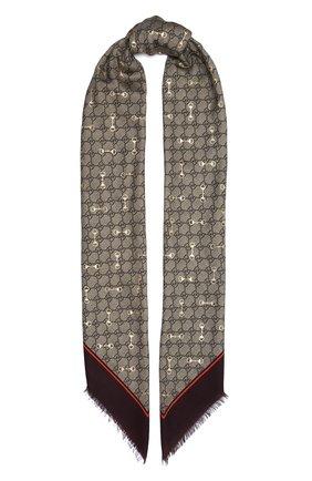 Женская шаль GUCCI коричневого цвета, арт. 662577/3GA40 | Фото 1 (Материал: Текстиль)