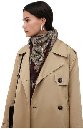 Женская шаль GUCCI коричневого цвета, арт. 662577/3GA40 | Фото 2 (Материал: Текстиль)