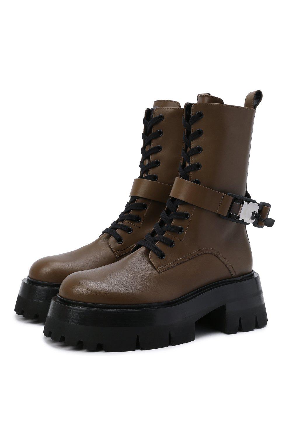 Женские кожаные ботинки VERSACE хаки цвета, арт. 1000822/1A00633 | Фото 1 (Подошва: Платформа; Материал внутренний: Натуральная кожа; Каблук высота: Средний; Женское Кросс-КТ: Байкеры-ботинки)