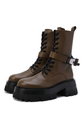 Женские кожаные ботинки VERSACE хаки цвета, арт. 1000822/1A00633 | Фото 1 (Материал внутренний: Натуральная кожа; Женское Кросс-КТ: Байкеры-ботинки; Каблук высота: Средний; Подошва: Платформа)