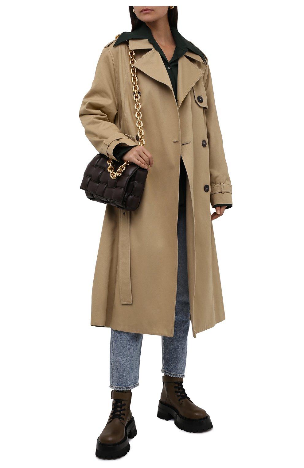 Женские кожаные ботинки VERSACE хаки цвета, арт. 1000822/1A00633 | Фото 2 (Подошва: Платформа; Материал внутренний: Натуральная кожа; Каблук высота: Средний; Женское Кросс-КТ: Байкеры-ботинки)