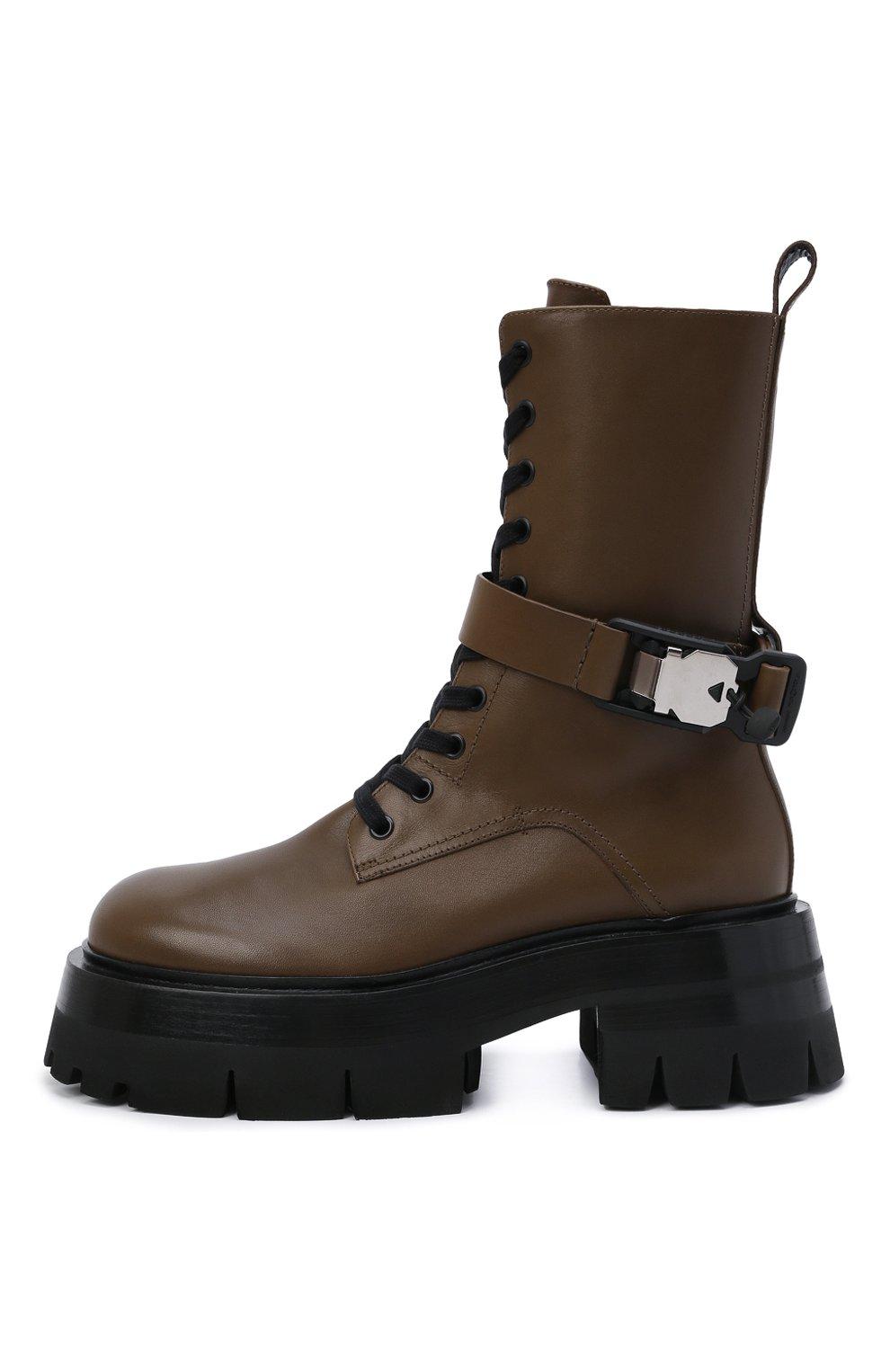 Женские кожаные ботинки VERSACE хаки цвета, арт. 1000822/1A00633 | Фото 3 (Подошва: Платформа; Материал внутренний: Натуральная кожа; Каблук высота: Средний; Женское Кросс-КТ: Байкеры-ботинки)