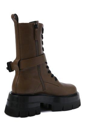 Женские кожаные ботинки VERSACE хаки цвета, арт. 1000822/1A00633 | Фото 4 (Подошва: Платформа; Материал внутренний: Натуральная кожа; Каблук высота: Средний; Женское Кросс-КТ: Байкеры-ботинки)
