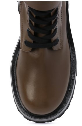 Женские кожаные ботинки VERSACE хаки цвета, арт. 1000822/1A00633 | Фото 5 (Подошва: Платформа; Материал внутренний: Натуральная кожа; Каблук высота: Средний; Женское Кросс-КТ: Байкеры-ботинки)