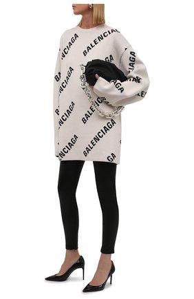 Женский пуловер из хлопка и шерсти BALENCIAGA кремвого цвета, арт. 657401/T3200 | Фото 2 (Материал внешний: Хлопок; Женское Кросс-КТ: Пуловер-одежда; Рукава: Длинные; Длина (для топов): Удлиненные; Стили: Спорт-шик)