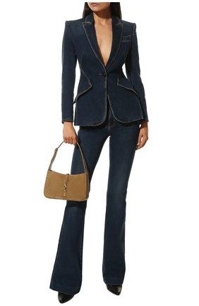 Женский джинсовый жакет ALEXANDER MCQUEEN синего цвета, арт. 628457/QMABH | Фото 2 (Материал внешний: Хлопок; Длина (для топов): Стандартные; Материал подклада: Купро; Рукава: Длинные; Женское Кросс-КТ: Жакет-одежда; 1-2-бортные: Однобортные; Случай: Повседневный; Кросс-КТ: Деним; Стили: Кэжуэл)