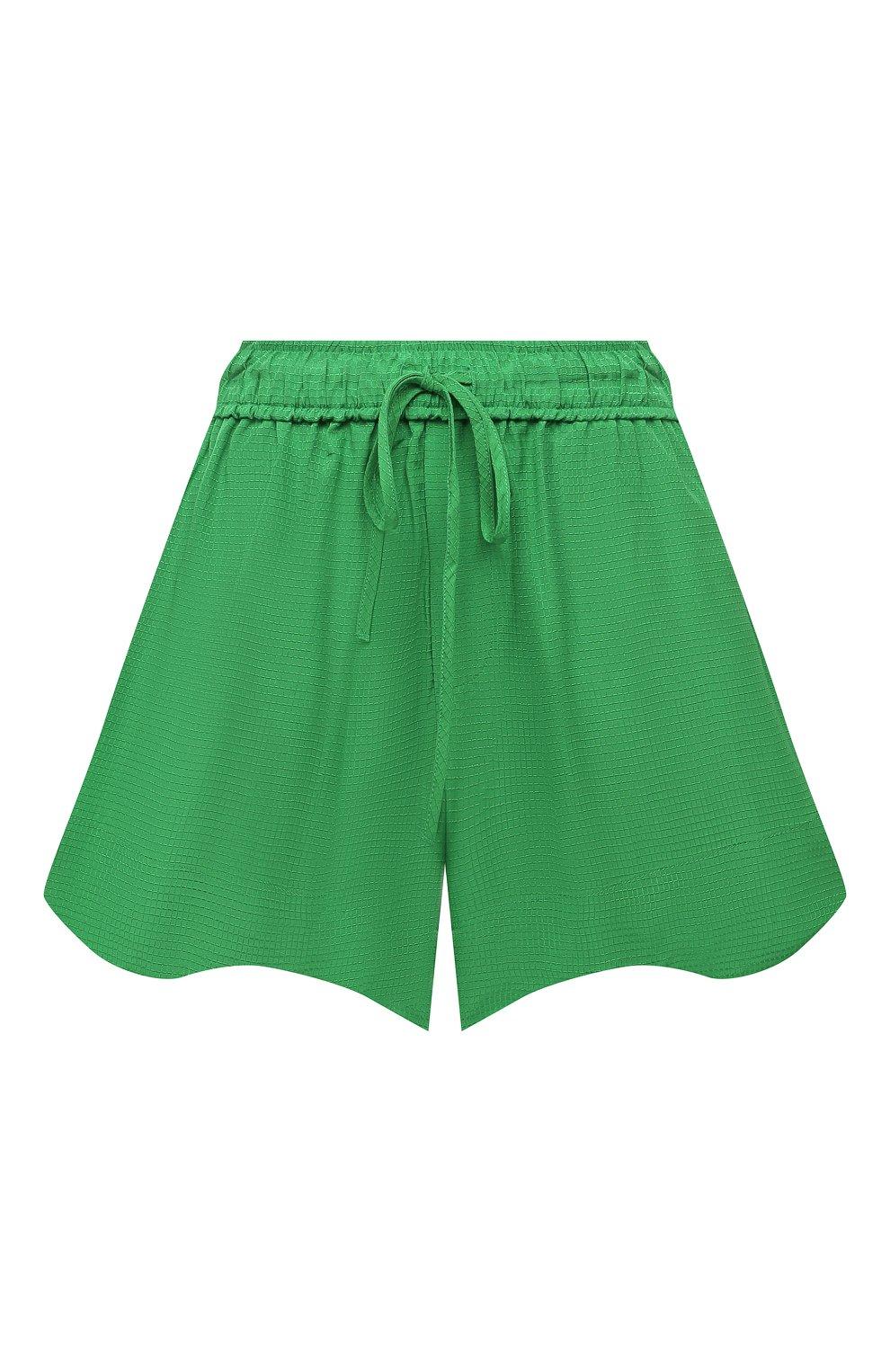 Женские шорты из вискозы GANNI зеленого цвета, арт. F6118 | Фото 1 (Женское Кросс-КТ: Шорты-одежда; Длина Ж (юбки, платья, шорты): Мини; Материал внешний: Вискоза; Стили: Романтичный)