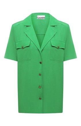 Женская блузка из вискозы GANNI зеленого цвета, арт. F6117 | Фото 1 (Длина (для топов): Стандартные; Рукава: Короткие; Материал внешний: Вискоза; Женское Кросс-КТ: Блуза-одежда; Стили: Романтичный; Принт: Без принта)