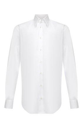 Мужская хлопковая сорочка GIORGIO ARMANI белого цвета, арт. 1WGCCZ70/TZ992 | Фото 1 (Рукава: Длинные; Материал внешний: Хлопок; Рубашки М: Regular Fit; Манжеты: На пуговицах; Длина (для топов): Стандартные; Случай: Формальный; Воротник: Кент; Принт: Однотонные; Стили: Классический)
