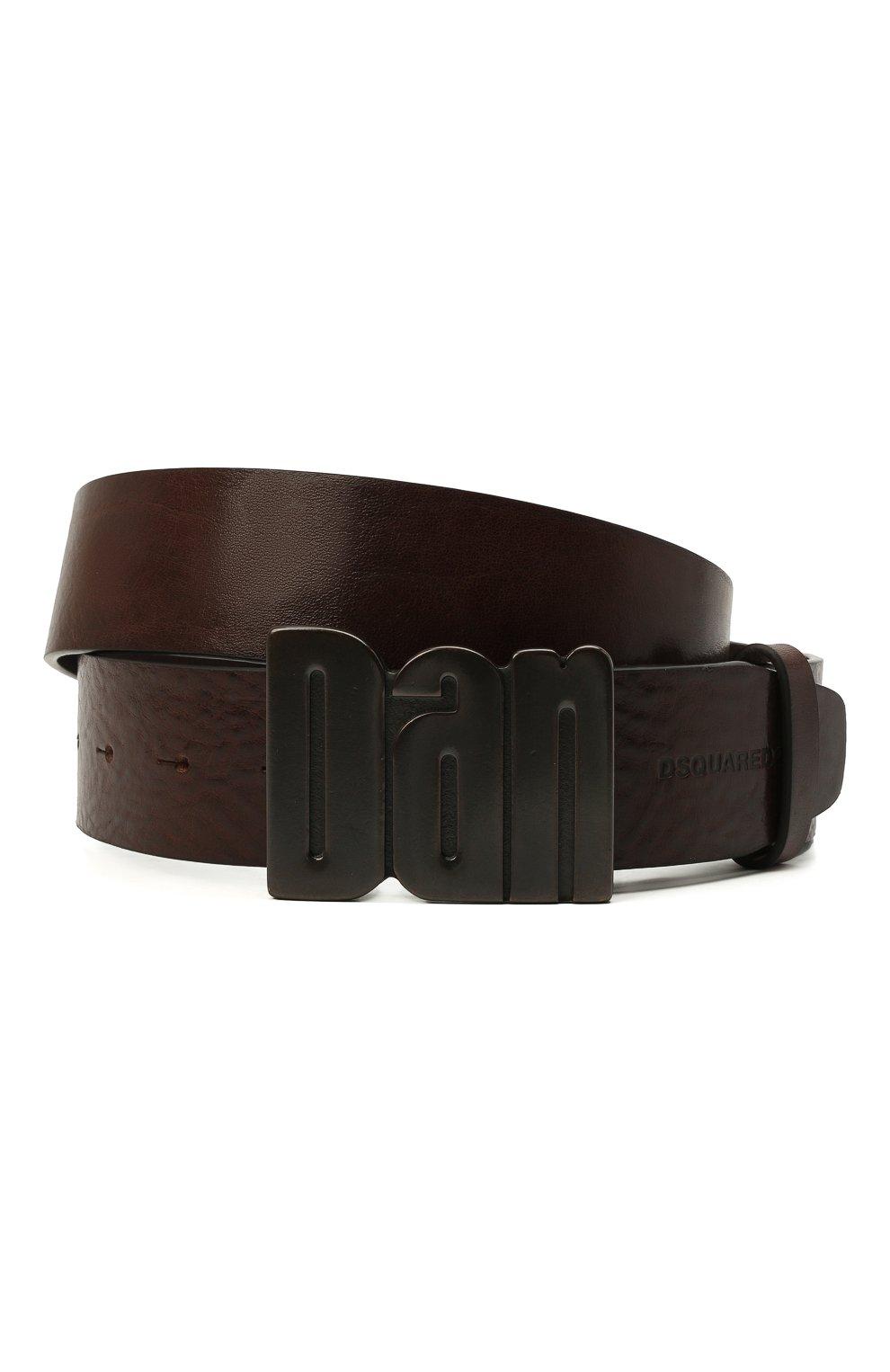 Мужской кожаный ремень DSQUARED2 темно-коричневого цвета, арт. BEM0050 20400001 | Фото 1 (Случай: Повседневный)