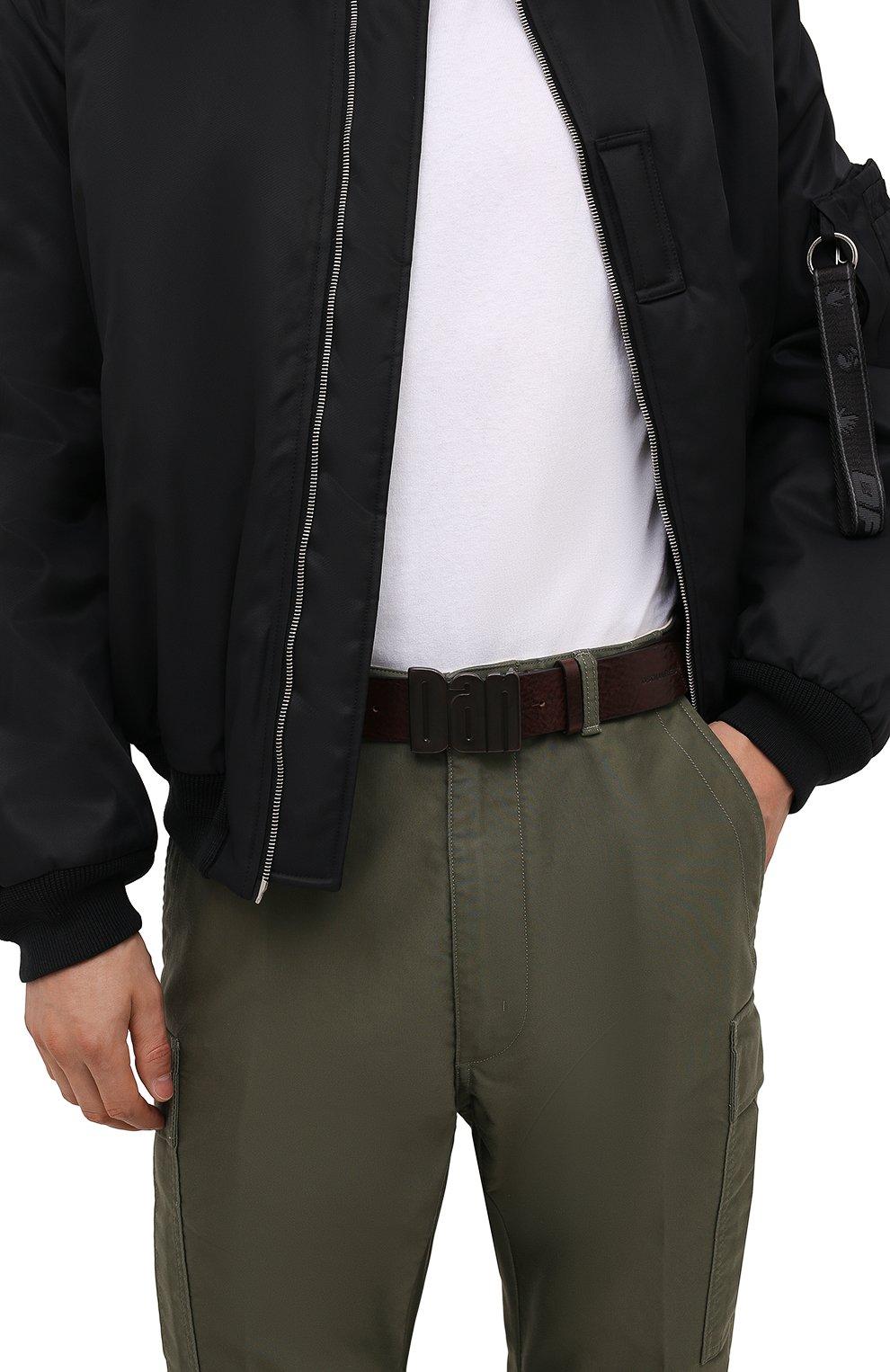 Мужской кожаный ремень DSQUARED2 темно-коричневого цвета, арт. BEM0050 20400001 | Фото 2 (Случай: Повседневный)