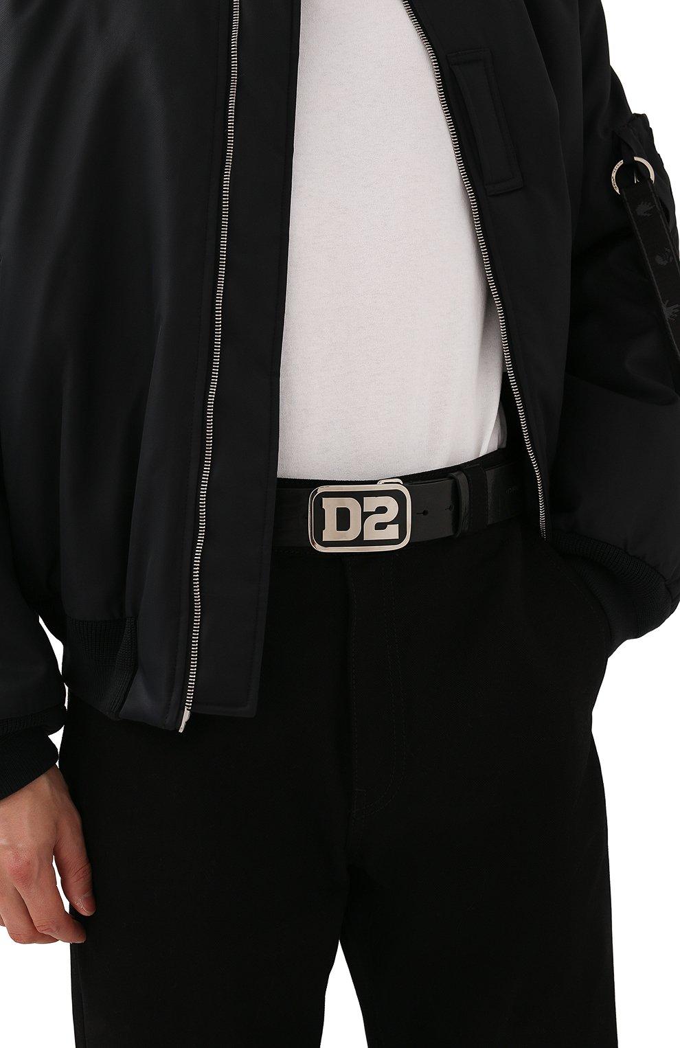 Мужской кожаный ремень DSQUARED2 черного цвета, арт. BEM0388 12900001   Фото 2 (Случай: Повседневный)